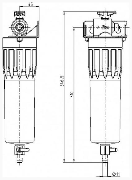 Габаритные размеры фильтра для питьевой воды Syr POU
