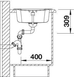 Мойка для кухни Blanco ENOS 40 S купить (вид сбоку)