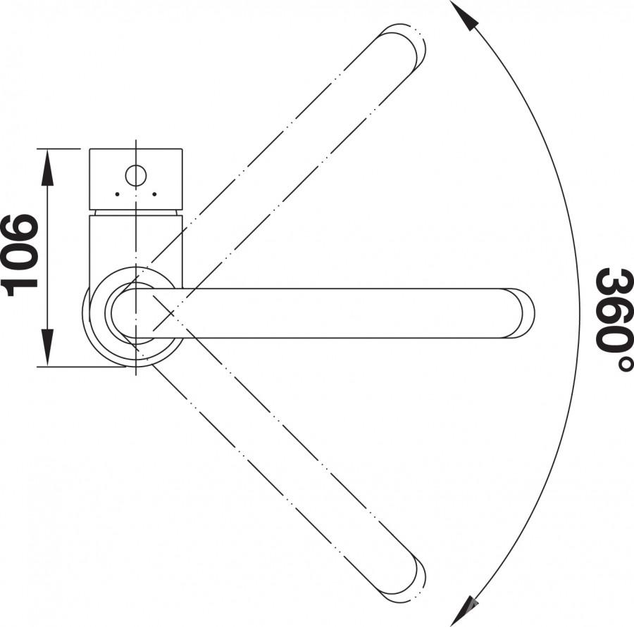 Смеситель для кухни Blanco MIDA SILGRANIT (угол поворота)