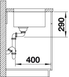 Мойка для кухни Blanco ANDANO 400-U купить (вид сбоку)