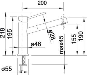 Смеситель для кухни Blanco ALTA-S Compact Silgranit купить (вид сбоку)