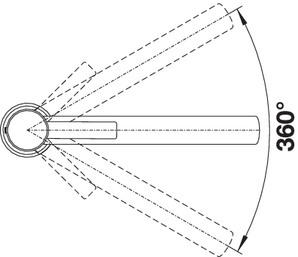 Смеситель для кухни Blanco AMBIS с поверхностью из нержавеющей стали (угол поворота)