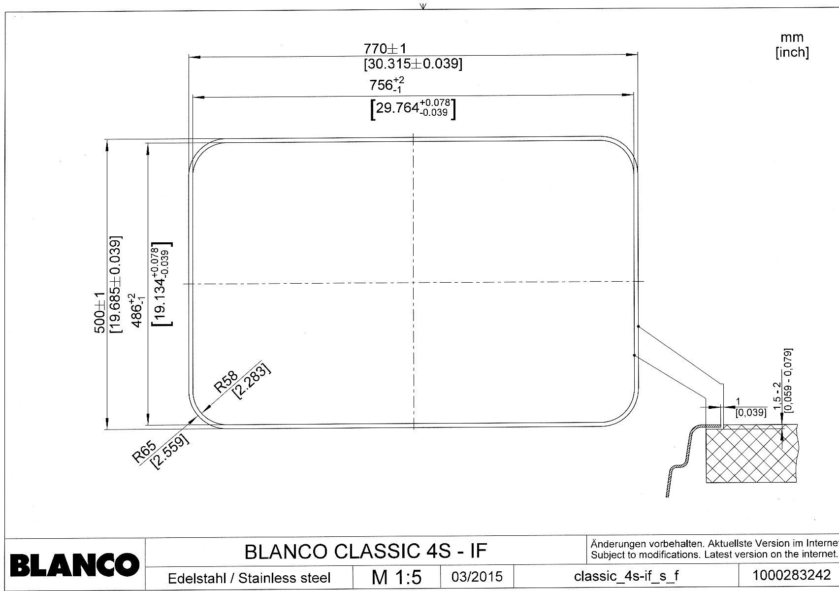 Мойка для кухни Blanco CLASSIC 4 S-IF (монтаж в один уровень со столешницей)