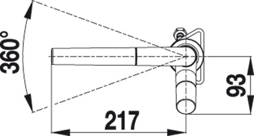 Смеситель Blanco YOVIS-S (угол поворота)