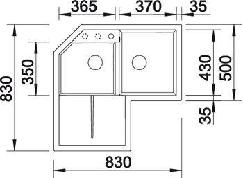 Мойка для кухни Blanco Metra 9 E (вид сверху)