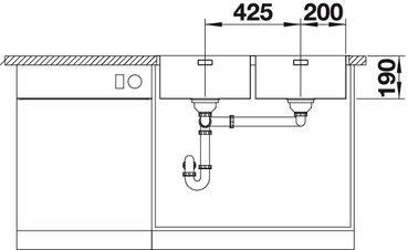 Мойка для кухни Blanco ANDANO 400/400-IF (вид спереди)