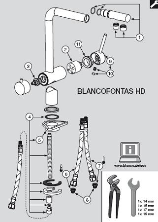 Купить кран буксу для смесителя Blanco Fontas