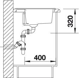 Мойка для кухни Blanco SUBLINE 320-U Silgranit купить (вид сбоку)