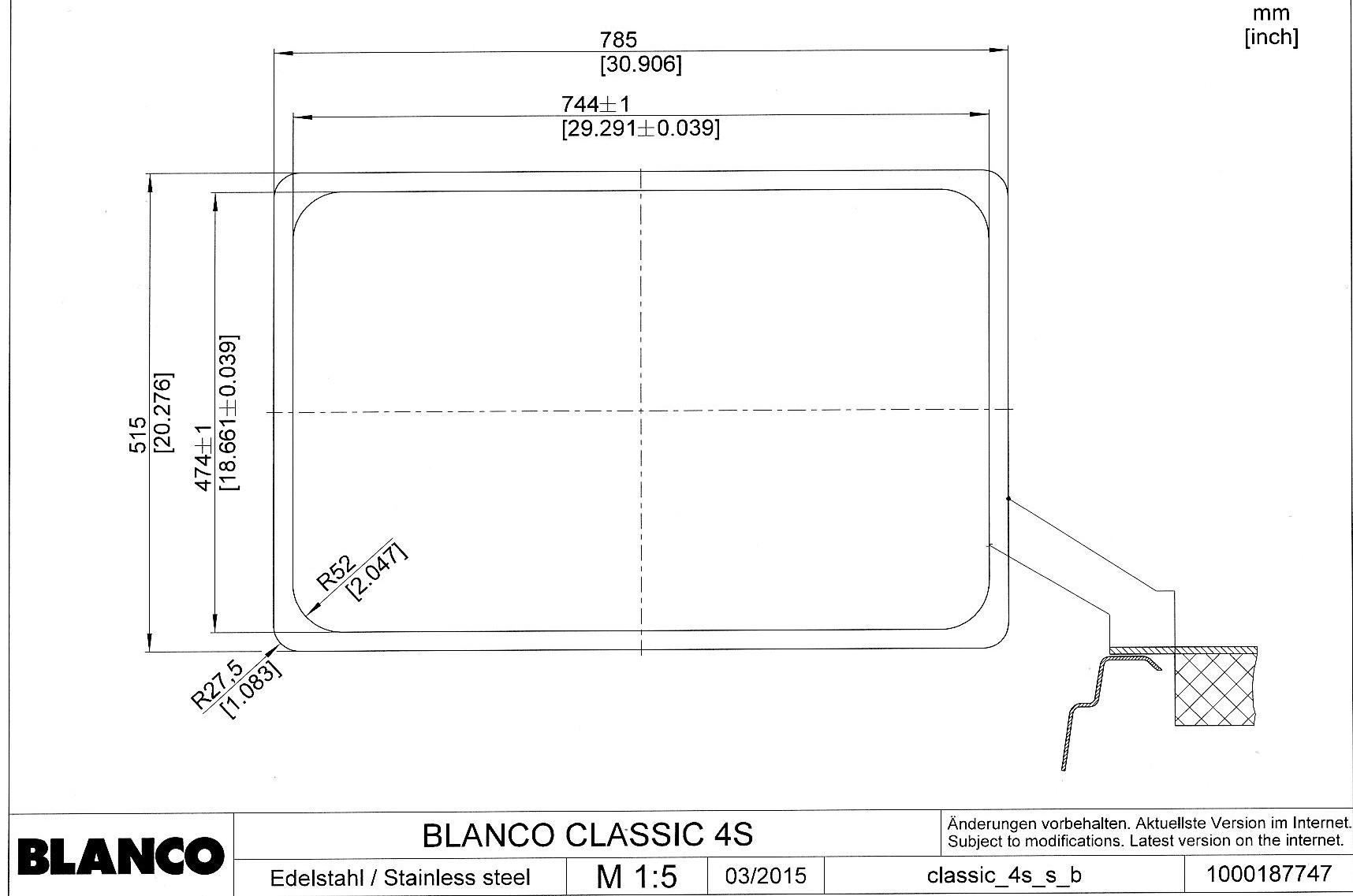 Мойка для кухни Blanco CLASSIC 4 S_монтаж в один уровень под столешницу