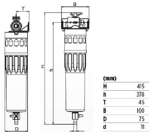 Фильтр SYR POU MAX (габаритные размеры)