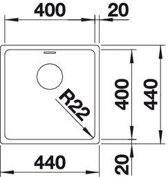 Купить мойку из нержавейки Blanco ANDANO 400-U Артикул 518309 (вид сверху)
