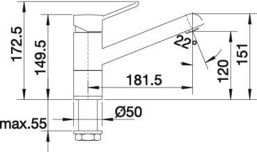 Компактный смеситель Blanco ZENOS Silgranit купить (вид сбоку)