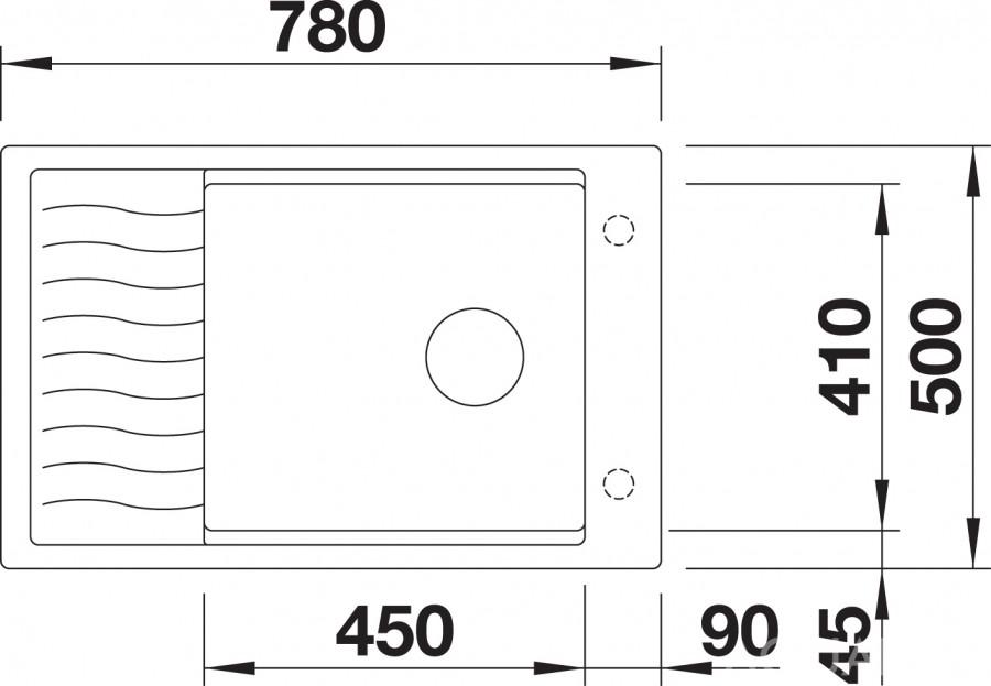 Купить мойку с крылом Blanco ELON XL 6 S Silgranit (вид сверху)
