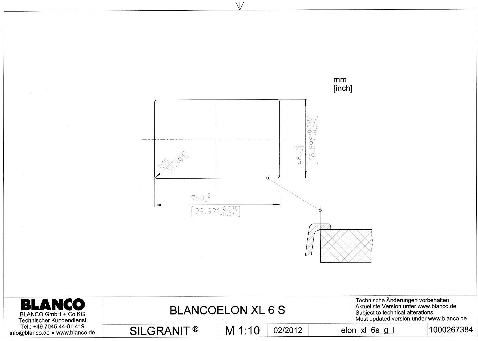 Мойка Blanco ELON XL 6 S (шаблон для выреза)