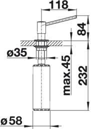 Дозатор моющего средства Blanco TORRE купить (вид сбоку)