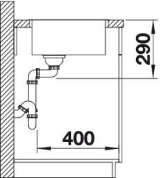 Мойка для кухни Blanco ANDANO 400-IF Вид сбоку