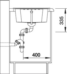 Рис. 2. Мойка с крылом для кухни Blanco ZIA 40 S Silgranit (вид сбоку)