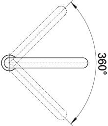 Выдвижной смеситель для кухни Blanco ELOSCOPE-F II угол поворота