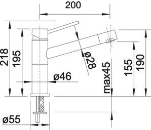 Смеситель для кухни Blanco ALTA Compact Silgranit купить (вид сбоку)