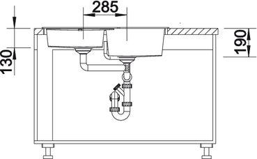 Угловая мойка для кухни Blanco METRA 9 E SILGRANIT® PuraDur® (вид сбоку)