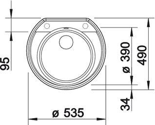 Кухонная мойка с круглой чашей RONDOVAL 45 Silgranit купить (вид сверху)