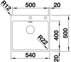 Мойка для кухни Blanco ANDANO 500-IF/A (вид сверху)