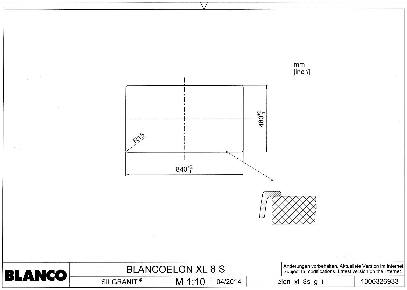 Шаблон выреза для мойки BLANCO ELON XL 8 S