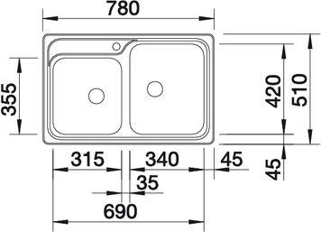 Мойка для кухни Blanco CLASSIC 8 вид сверху
