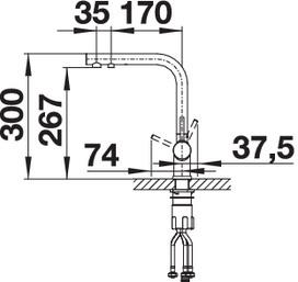 Кран с питьевой водой Blanco FONTAS II Silgranit купить (вид сбоку)