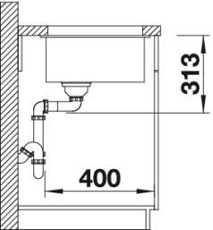 Мойка для кухни Blanco SUBLINE 400-U Silgranit купить (вид сбоку)
