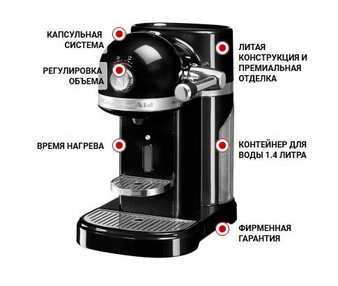 Особенности кофемашины KitchenAid Artisan Nespresso 5KES0503OB черный