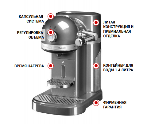 Особенности кофемашины KitchenAid Artisan Nespresso 5KES0503MS серебряный медальон