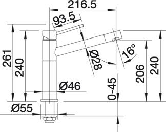 Однорычажный кран для кухни Blanco ALTA купить (вид сбоку)