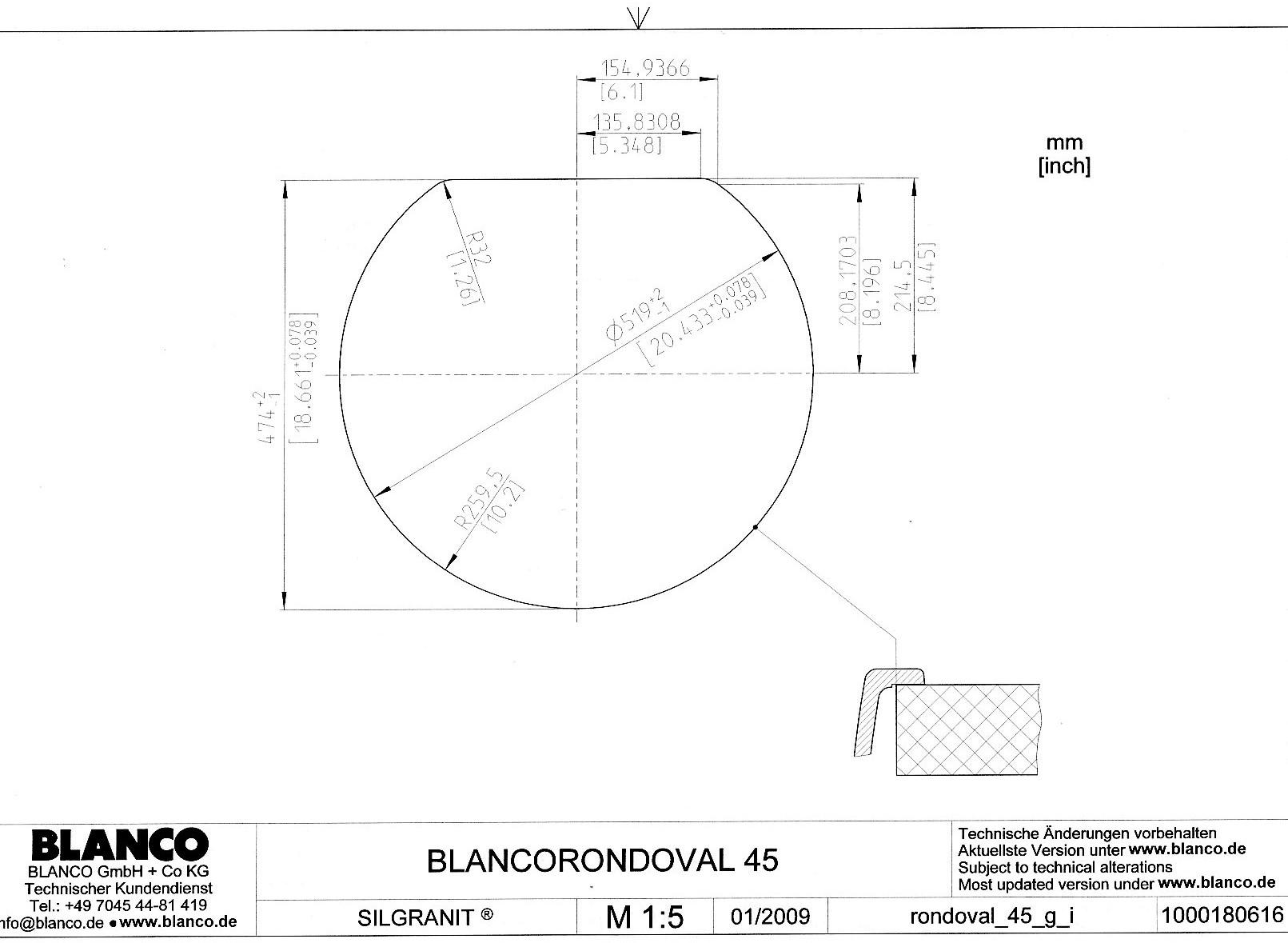 Кухонная мойка с круглой чашей RONDOVAL 45 Silgranit купить (шаблон для выреза)