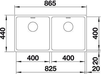 Мойка для кухни Blanco ANDANO 400/400-IF (вид сверху)