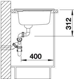Мойка для кухни Blanco AXON II 6 S (вид сбоку)