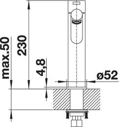 Смеситель для кухни Blanco AMBIS из нержавеющей стали (вид сбоку)