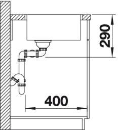 Мойка для кухни Blanco ANDANO 400/400-IF (вид сбоку)