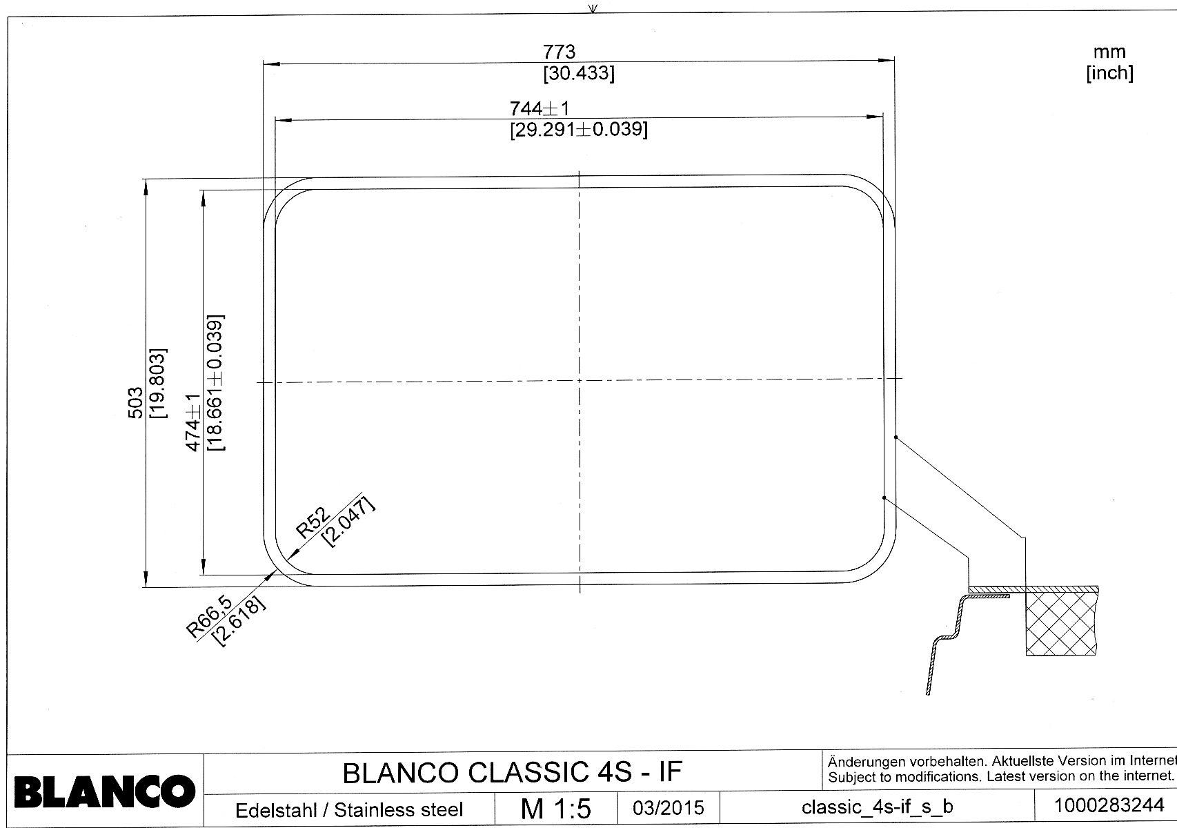 Мойка для кухни Blanco CLASSIC 4 S-IF (монтаж в один уровень под столешницу)