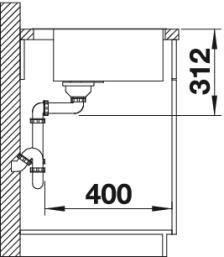 Мойка BLANCO SUBLINE 500-IFA SteelFrame вид сбоку