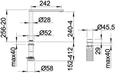 Выдвижной смеситель для кухни Blanco ELOSCOPE-F II вид сбоку